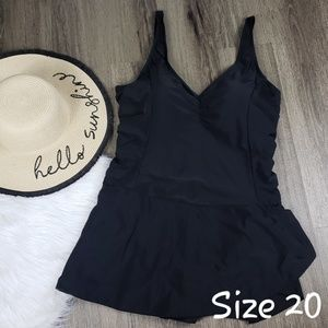 Swimsuits for All Black Sexy Swim Dress Size 20
